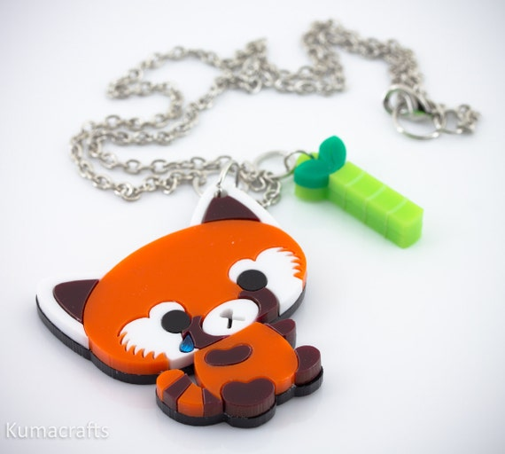Cute but Sad Red Panda Pendant/Necklace with Bamboo Charm