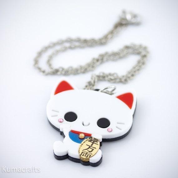 Maneki Neko Japanese Cat Laser Cut Layered Acrylic Pendant