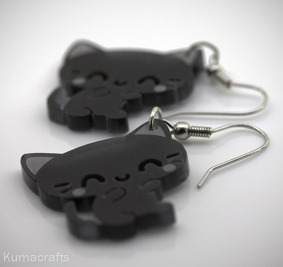 LAST PAIR Adorable Little Grey Cat Earrings Laser Cut Acrylic