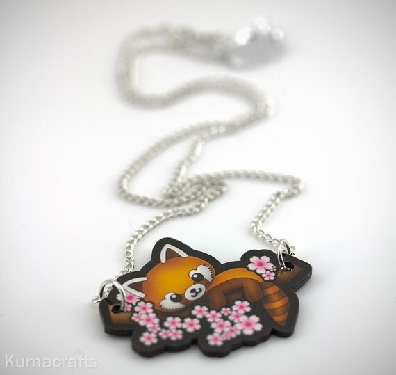Red Panda Pendant/Necklace Sitting on Branch with Cherry blossoms Laser Cut Printed Acrylic