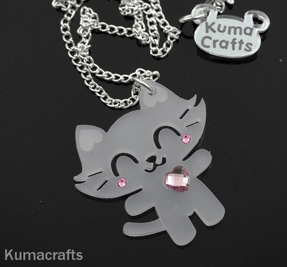 Mini Super Happy Cat Pendant/Necklace Laser Cut Frosted Translucent Acrylic with Swarovski Crystals