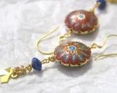 Blue Lapis and Cloisonne Earrings flower motif dangle bohemian