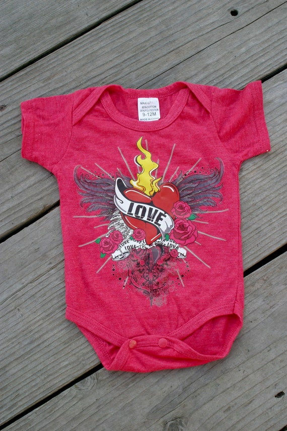 Red Flame Heart Onesie 9-12months