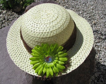 Tea Party Hat - Girls Sun Hat - Pale Yellow - Style B2