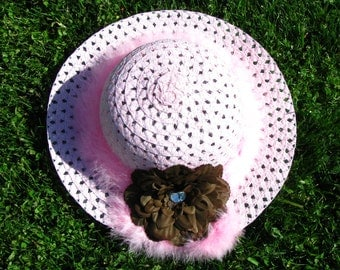 Tea Party Hat - Girls Sun Hat - Pink and Brown - Style C7