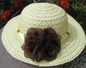Tea Party Hat - Girls Sun Hat - Pale Yellow and Brown - Style I10