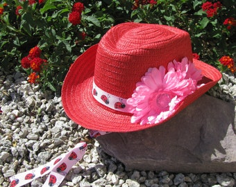 Cowgirl Hat -  Red and Pink with Lady Bugs - Girls Western Theme Party - Style CB26