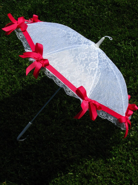 Girls Sun Parasol - White and Hot Pink - Lace - Ribbon Sun Umbrella