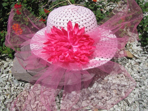 Tea Party Hat - Girls Sun Hat - Easter Hat -  Hot Pink and Pink - Style A8