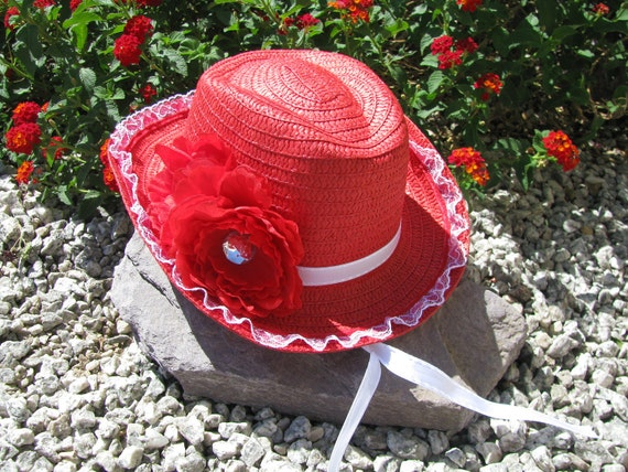 Cowgirl Hat -  Red and White - Girls Cowboy Hat - Girls Western Theme Party - Style CB28