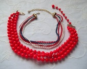 1950's Red, White and Blue Necklace Lot