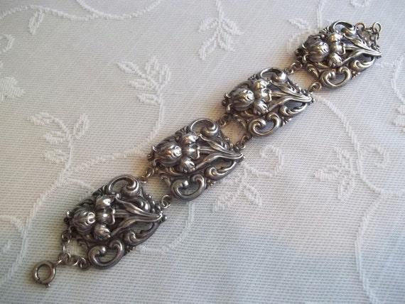 Vintage Repousse Floral Bracelet