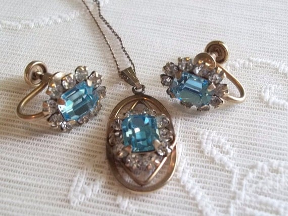 Vintage 12k Gold Filled Rhinestone Necklace and Earrings Set