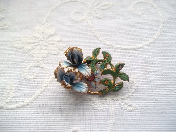 Vintage Austria Floral Brooch