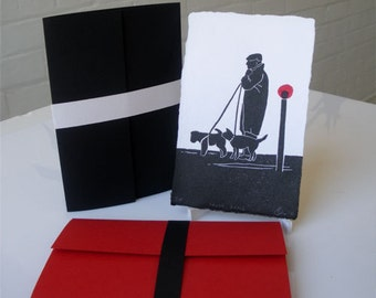 Man Walking with Dogs Red Post Paris Print