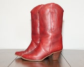 Deep Red Leather Cowboy Cowgirl Boot With Braid 6B
