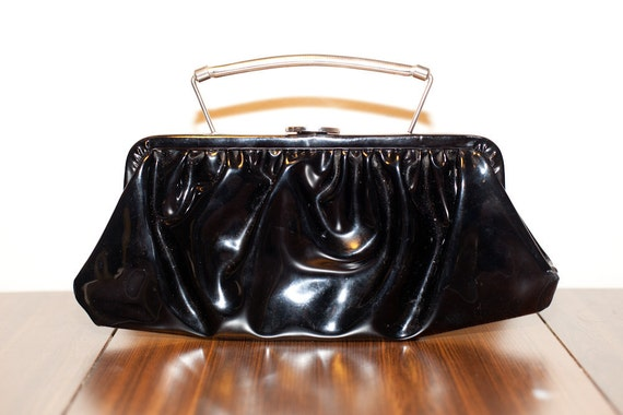 Vintage Black Vinyl Patent Leather Clutch with Silver Handle