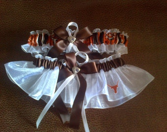 University of Texas white organza Wedding Garter set any tipe, color or size.