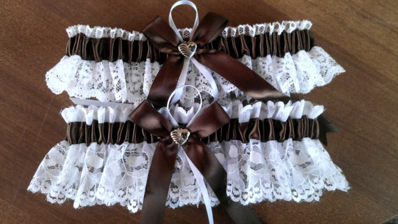 Brown satin ribbon and white Lace Wedding Garter set any size