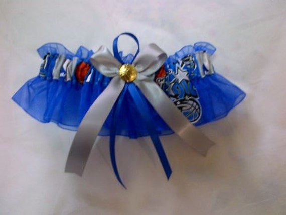 Single bleu Orlando Magic Wedding Garter set basketball any size