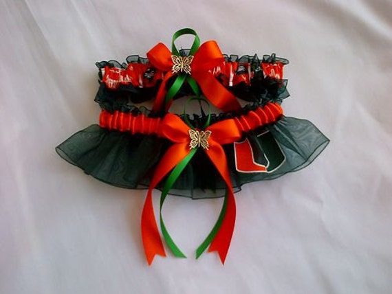 University of Miami dark green organza wedding garter any size, color or style.