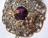 Vintage Brass Filigree  Amethyst Long  Necklace Set