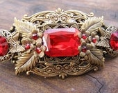 VICTORIAN Red Jewel  Hair Clip