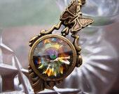 HALF PRICE SALE Peacock Swarovski Crystal Butterfly  Necklace