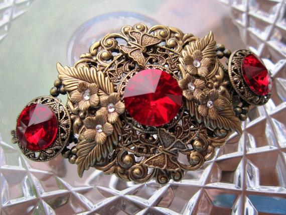HAIR CLIP  Red Swarovski Crystal
