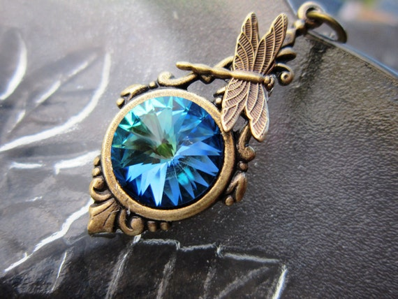 SALE 12 DOLLAR  Citrine  Swarovski Crystal Brass Dragonfly Necklace