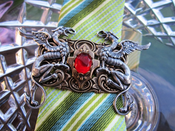 HANDMADE GOTHIC TIE Clip Red Dragon