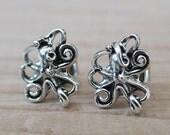 OCTOPUS EARRINGS - Sterling Silver Post Stud Earrings