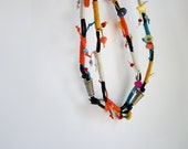 Long boho necklace, tribal strand necklace, double wrap necklace, black and orange, colorful necklace, bohemian necklace, boho style jewelry