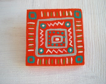 Wood brooch, square brooch, geometric pattern, eco friendly jewelry, wooden jewelry, bright colors, wooden brooch, orange turquoise, on sale
