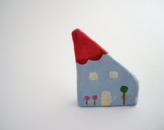 Paper mache house brooch, eco friendly jewelry, paper jewelry, house pin, one of a kind gift for her, cute brooch, fun jewelry