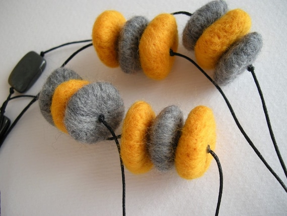 Yellow and Gray pebble felted necklace, long double strand necklace, felt bead necklace