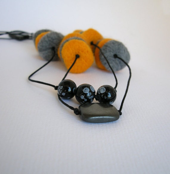 Pebble necklace, felted necklace, long double strand necklace, felt bead necklace, textile jewelry, boho necklace long, grey yellow, on sale