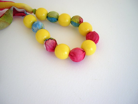 Silk multicolor necklace with yellow wooden beads - handpainted silk fabric necklace