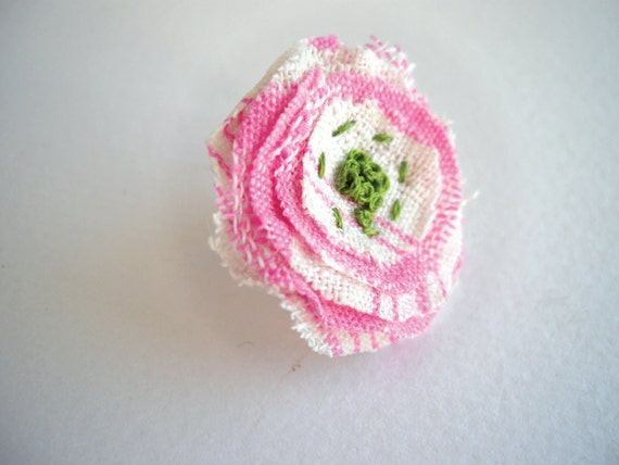 Fabric flower ring, shabby chic ring, pink and green girly ring, adjustable romantic jewelry