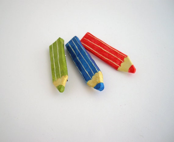 Pencil brooch, paper mache jewelry, eco friendly jewelry, blue, green, red, back to school, gift for teacher, student gift, artist gift