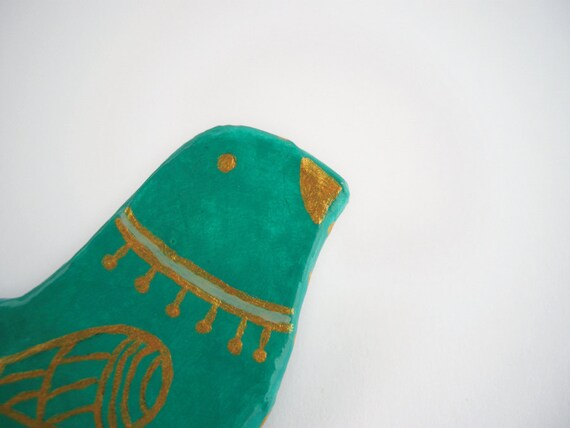 Turquoise Bird hand painted brooch papier mache jewelry