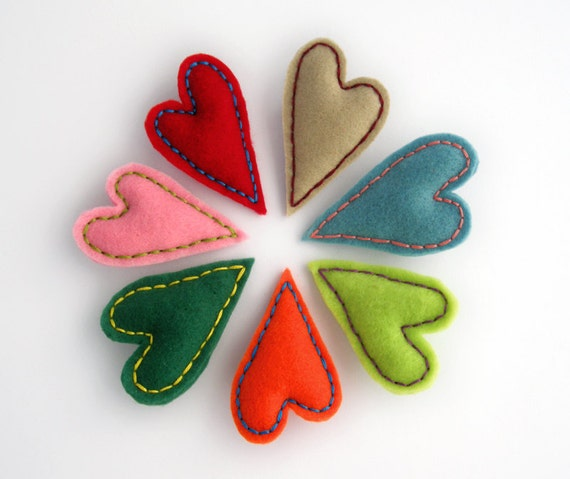 Felt heart brooch, your choice of color, valentines day gift, red heart, blue heart