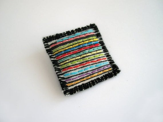 Stripes square brooch, geometric brooch, embroidered brooch, textile jewelry, shabby pin