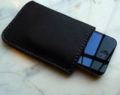grey leather iPhone case - made in italy