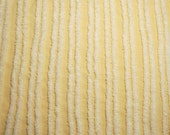 Sunny Yellow with Plush White Stripes Hofmann Vintage Chenille Bedspread Fabric - 36 by 16 Inches