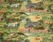 """Grandma Moses """"Harvest Time"""" Unused Vintage Barkcloth - 48 x 21 Inches"""