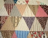 Primitive Madder Brown Patchwork 19th Century Antique Quilt Pieces - Four Pieces