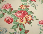 Roses and Daisies Vintage Barkcloth Era Fabric Piece - 67 x 23 Inches