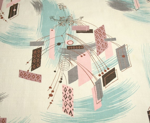 Mid-century Modern Eames Vintage Barkcloth Fabric - Pink, Aqua, Brown, Gray - 34 by 35 Inches