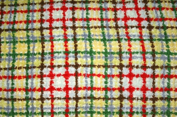 Cheerful Primary Colors Plaid Vintage Chenille Bedspread Fabric - 48 by 18 inches